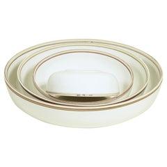 Large Ivory Glazed Porcelain Hermit Bowl with Rustic Rim