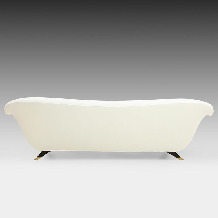 Lacquered Large Ivory Velvet Sofa Attributed to Guglielmo Ulrich For Sale