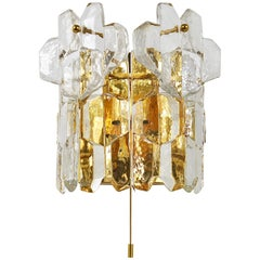 Large J. T. Kalmar Palazzo Midcentury Gilt Brass and Crystal Icicle Glass Scone