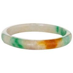 Large Jade Bangle Bracelet Vintage Fine Jewelry Green Orange Slip On