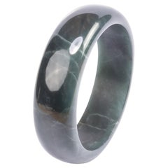 Jade Bangle Carved from Elusive Blue Olmec Jade from Guatemala Large Size