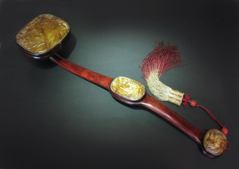 Chinese Export Large Jade-Inset Wood Ruyi Scepter, 20th Century For Sale