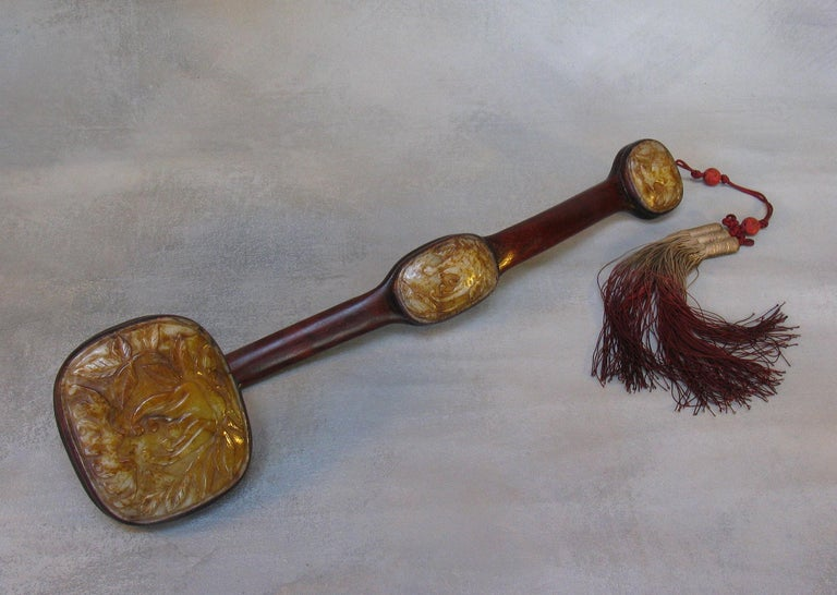 Chinese Large Jade-Inset Wood Ruyi Scepter, 20th Century For Sale