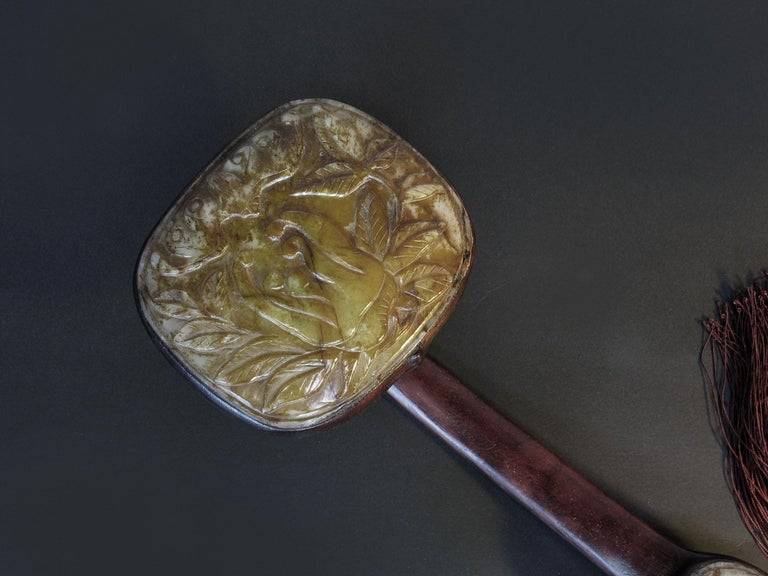 Large Jade-Inset Wood Ruyi Scepter, 20th Century In Good Condition For Sale In Ottawa, Ontario