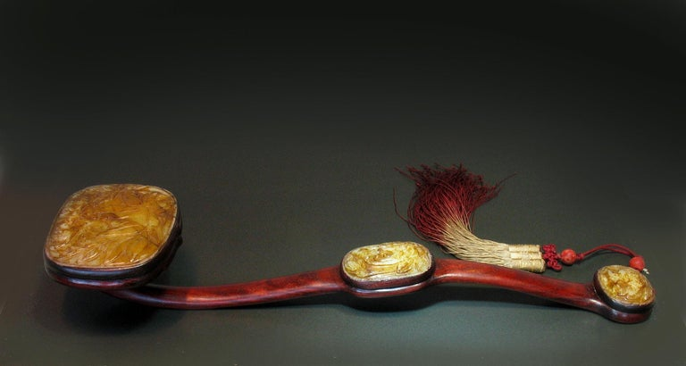 Large Jade-Inset Wood Ruyi Scepter, 20th Century For Sale 1