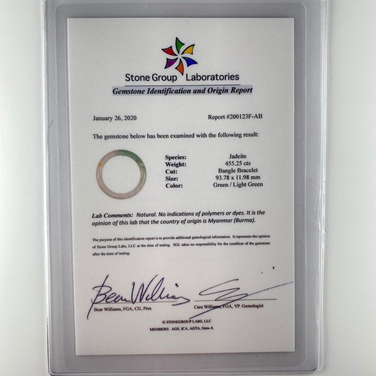Large Jadeite Jade Bangle Certified Untreated For Sale 6