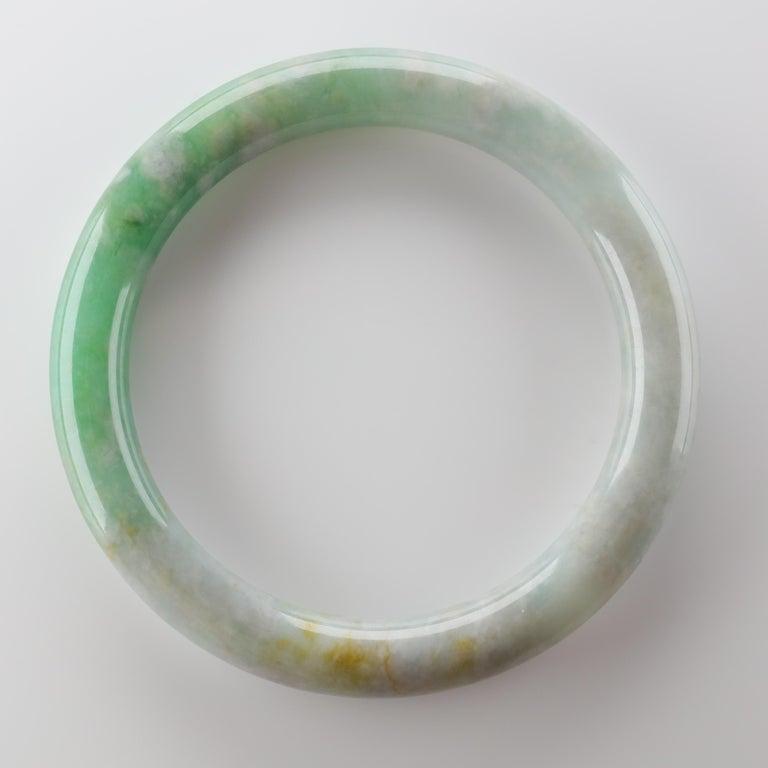 Large Jadeite Jade Bangle Certified Untreated For Sale 2