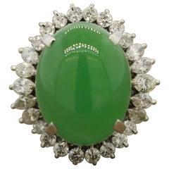 Large Jadeite Jade Diamond Platinum Cocktail Ring