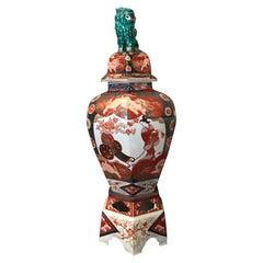 Large 19th Century Imari Temple Jar with Cover vase on a Stand Antiques LA