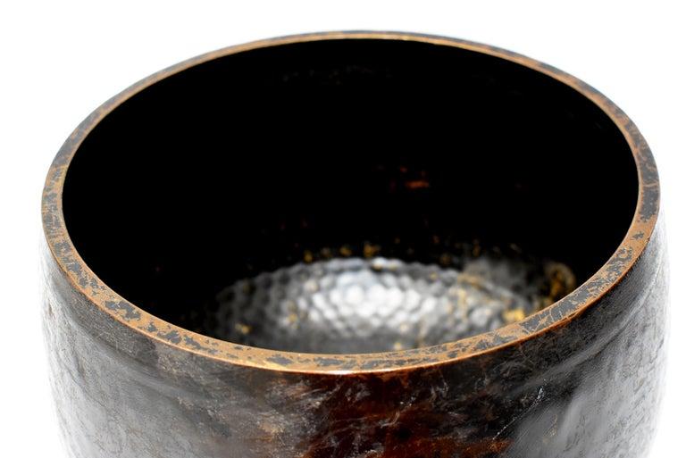 Large Japanese Antique Bronze Singing Bowl 1, Black, Hand Hammered For Sale 6