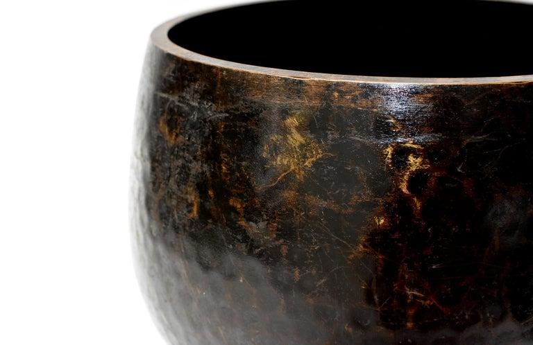 Large Japanese Antique Bronze Singing Bowl 1, Black, Hand Hammered For Sale 1