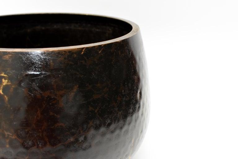 Large Japanese Antique Bronze Singing Bowl 1, Black, Hand Hammered For Sale 2