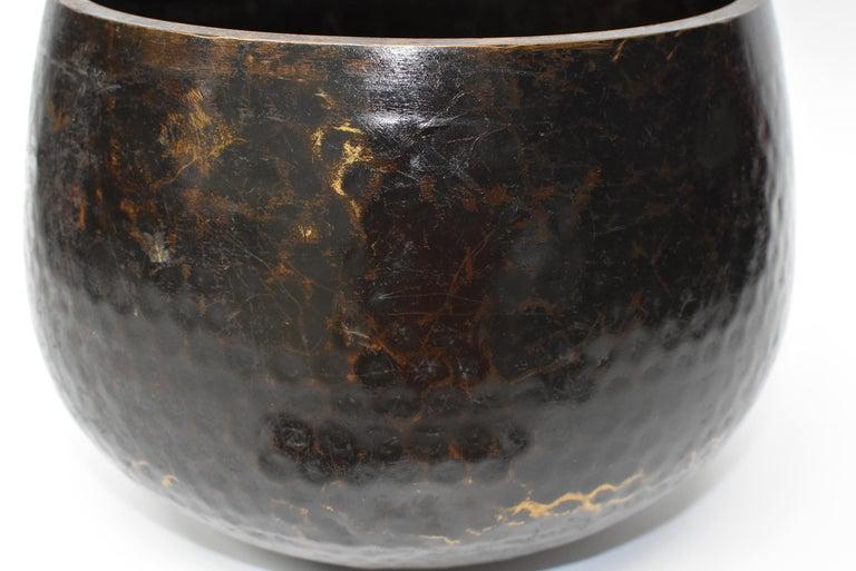 Large Japanese Antique Bronze Singing Bowl 1, Black, Hand Hammered For Sale 3