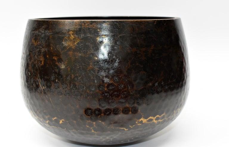 Large Japanese Antique Bronze Singing Bowl 1, Black, Hand Hammered For Sale 5