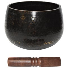 Large Japanese Antique Bronze Singing Bowl 1, Black, Hand Hammered