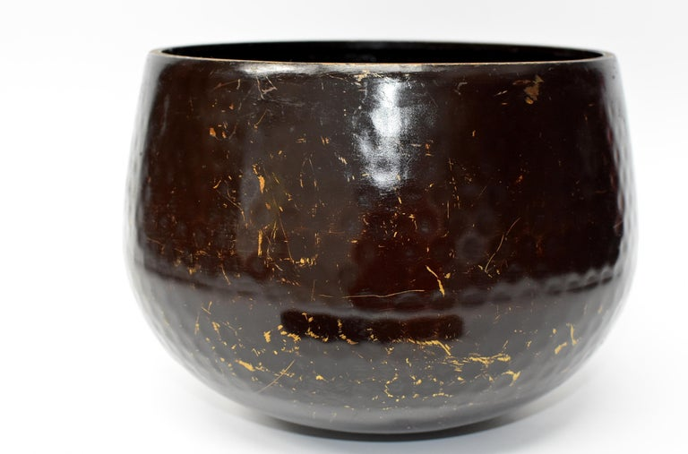 Large Japanese Antique Bronze Singing Bowl 2, Brown, Hand-Hammered For Sale 3