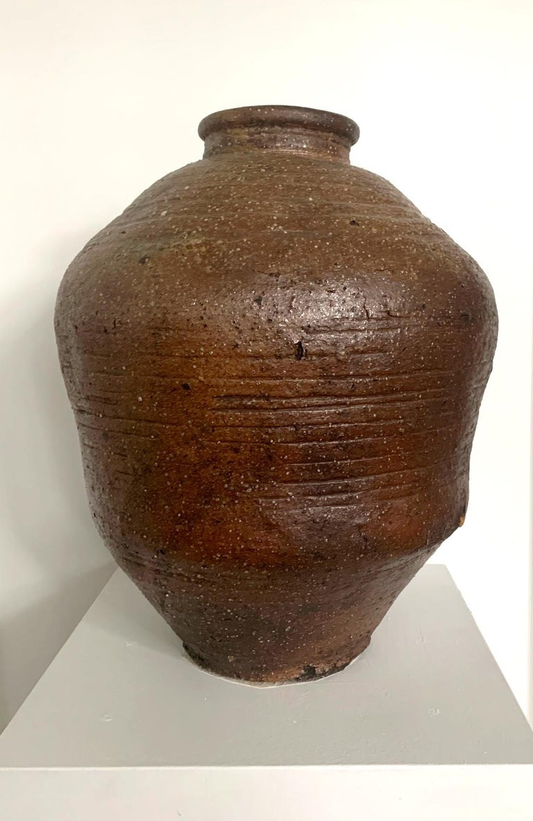 18th Century and Earlier Large Japanese Antique Shigaraki Tsubo Jar For Sale
