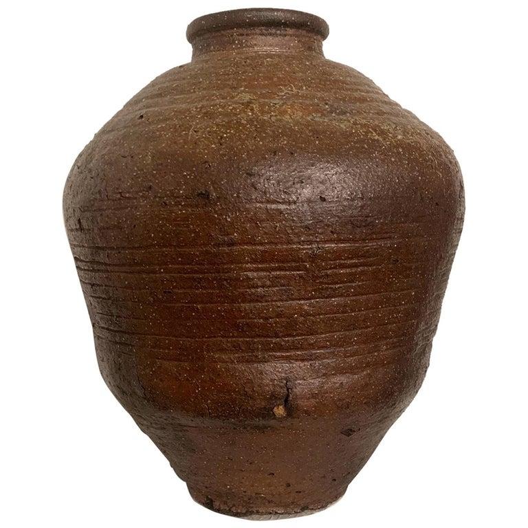 Large Japanese Antique Shigaraki Tsubo Jar For Sale