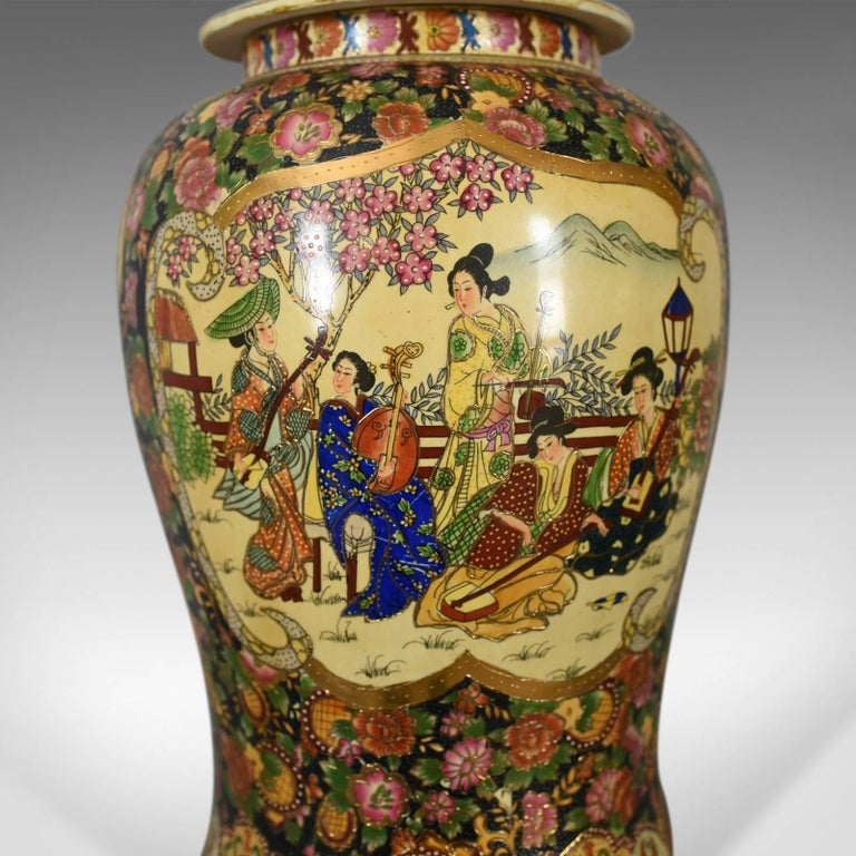 Large Japanese Baluster Vase Hand Painted Ceramic Urn 20th Century