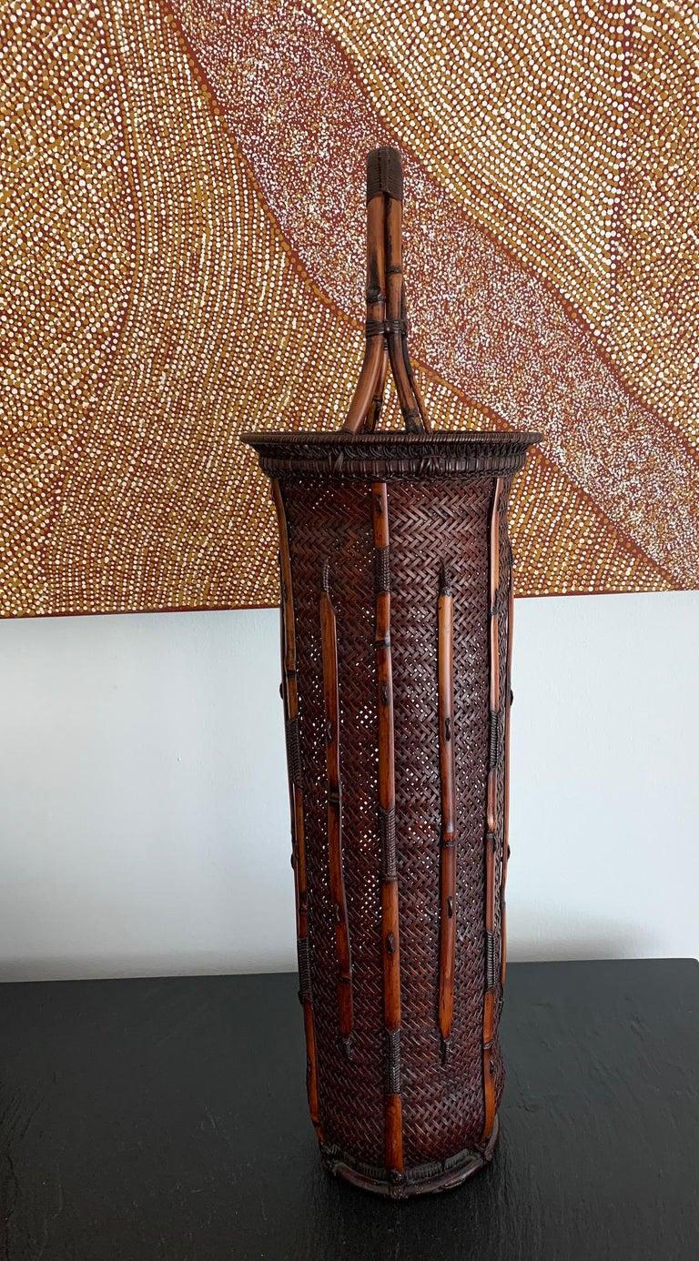 Japonisme Large Japanese Bamboo Ikebana Basket Maeda Chikubosai I For Sale