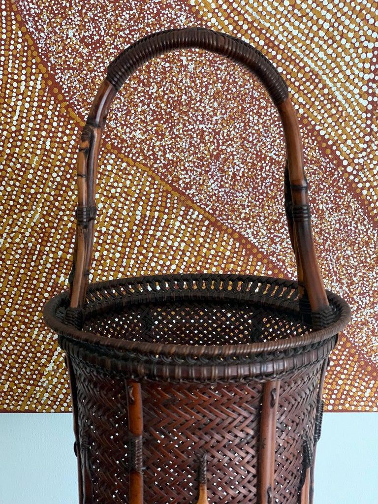 20th Century Large Japanese Bamboo Ikebana Basket Maeda Chikubosai I For Sale