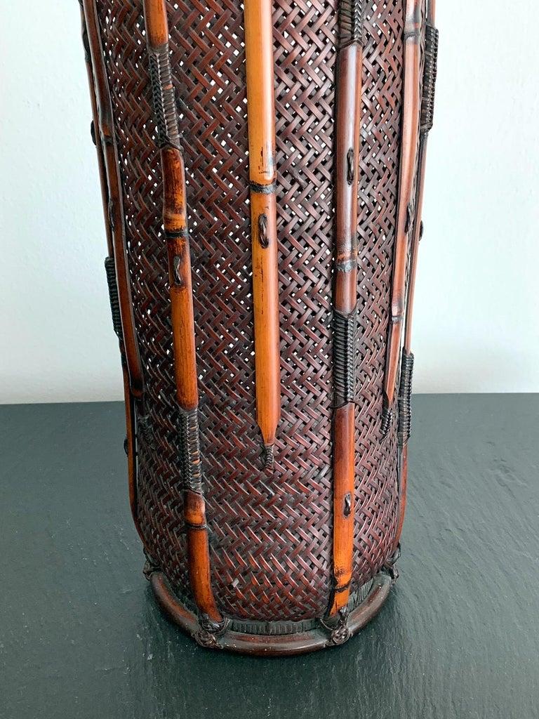 Large Japanese Bamboo Ikebana Basket Maeda Chikubosai I For Sale 3