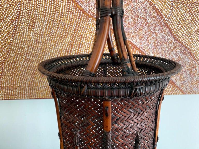 Large Japanese Bamboo Ikebana Basket Maeda Chikubosai I For Sale 4