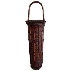 Large Japanese Bamboo Ikebana Basket Maeda Chikubosai I