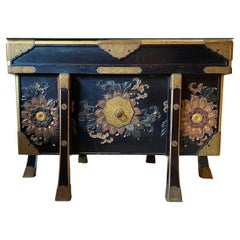 Large Japanese Black Lacquered Storage Chest, 19th Century