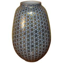 Large Japanese Blue Gilded Porcelain Vase by Contemporary Master Artist