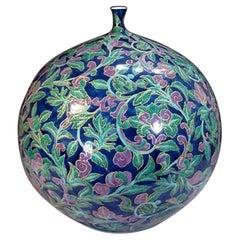 Large Japanese Blue Green Gilded Porcelain Vase by Contemporary Master Artist