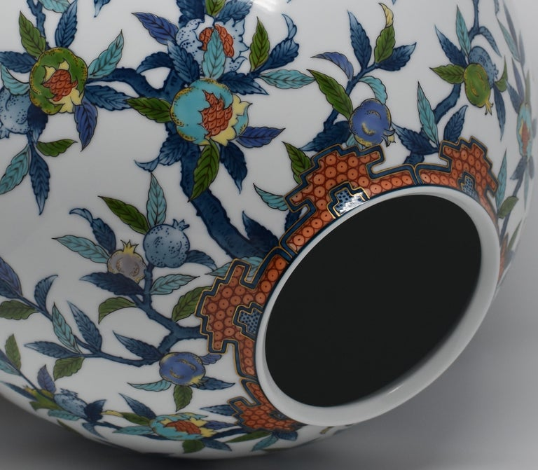 Hand-Painted Large Japanese Blue Red Contemporary Porcelain Vase by Imari Master Artist For Sale