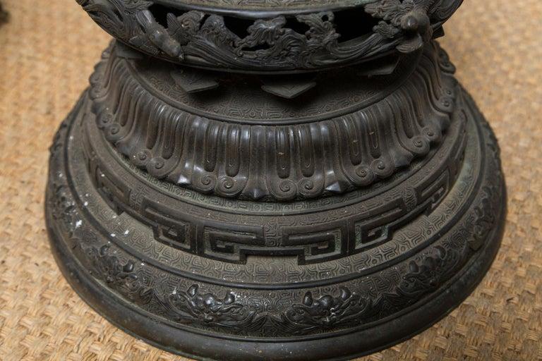 19th Century Large Japanese Bronze Koro (incense burner) For Sale