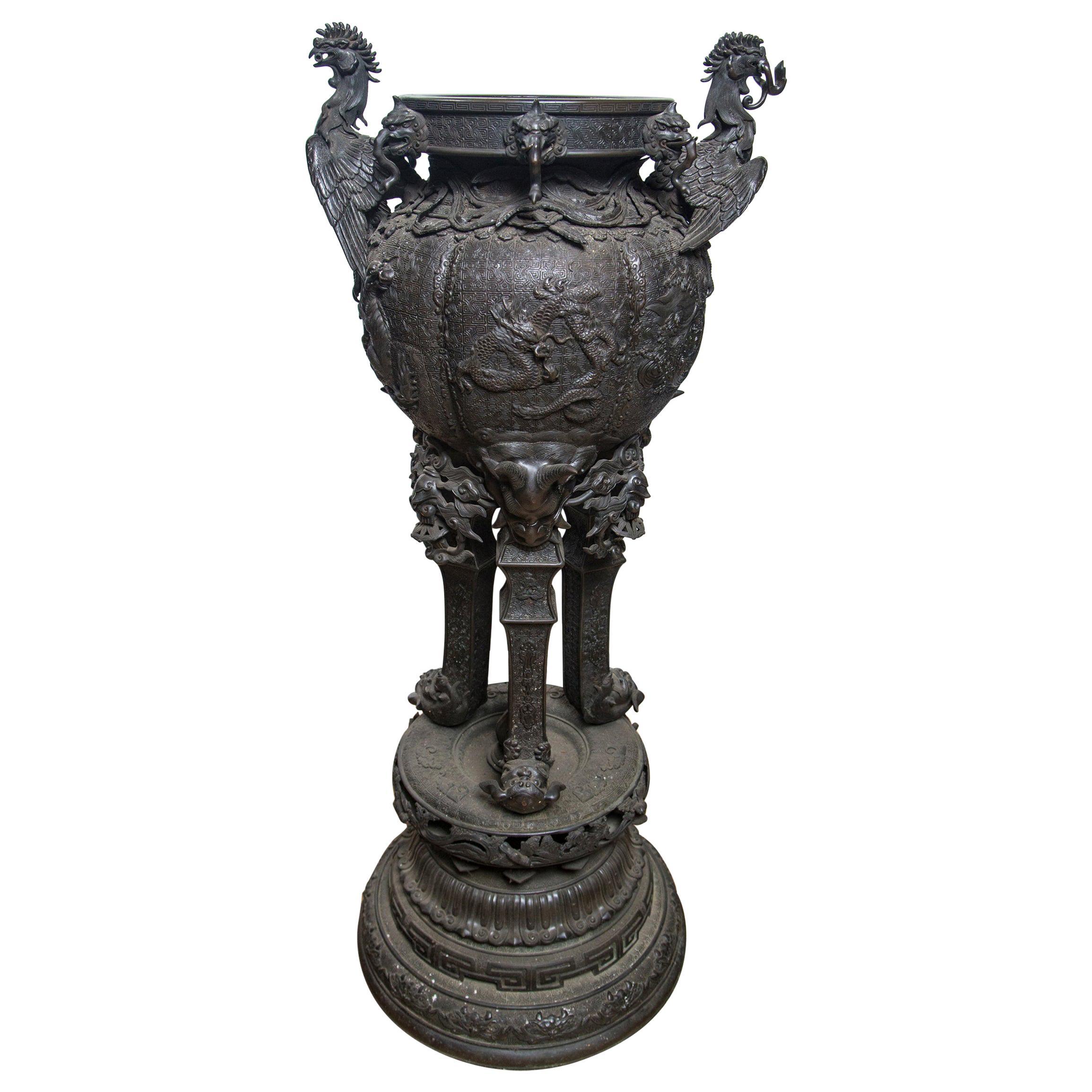 Large Japanese Bronze Koro (incense burner)