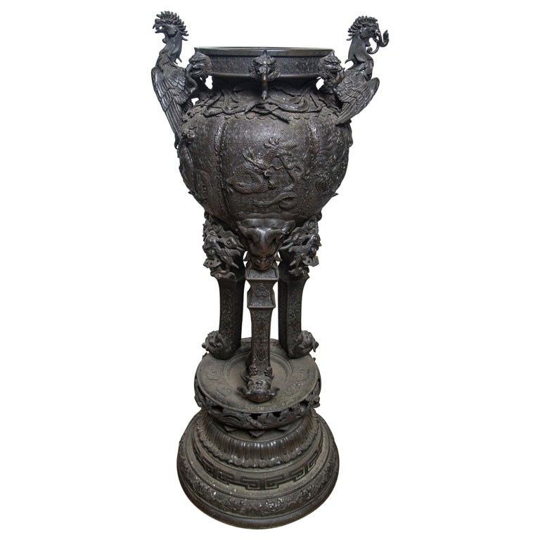 Large Japanese Bronze Koro (incense burner) For Sale