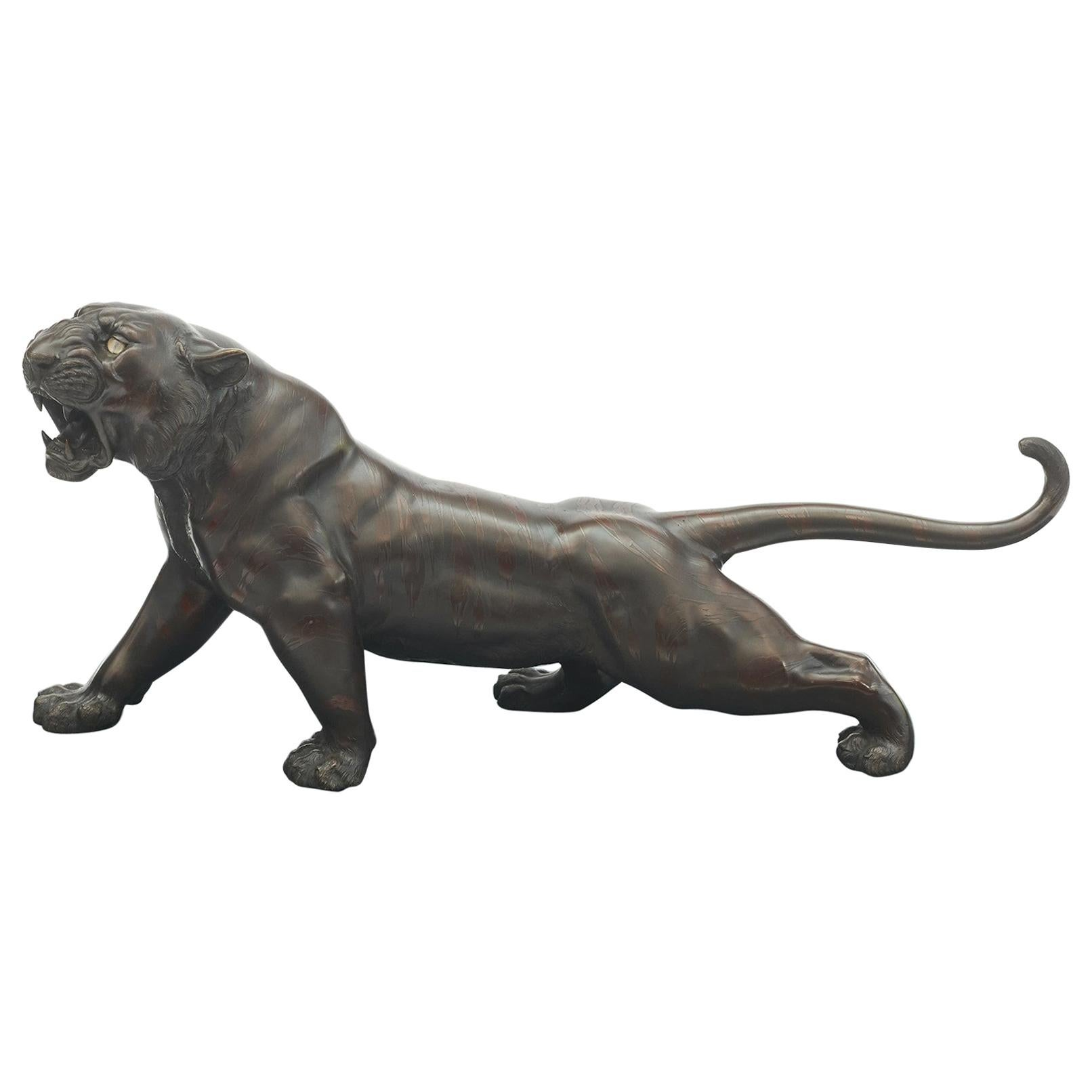Large Japanese Bronze Meiji Period Tiger