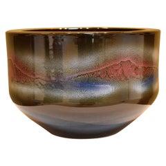 Large Japanese Brown Blue Red Hand-Glazed Porcelain Vase by Master Artist