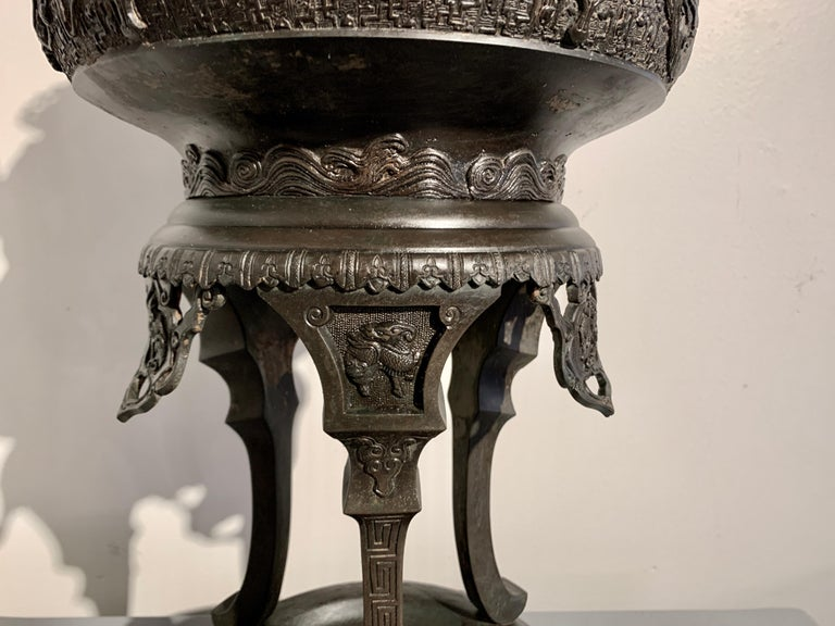 Large Japanese Cast Bronze Censer with Kirin, Edo Period, Early 19th Century For Sale 7