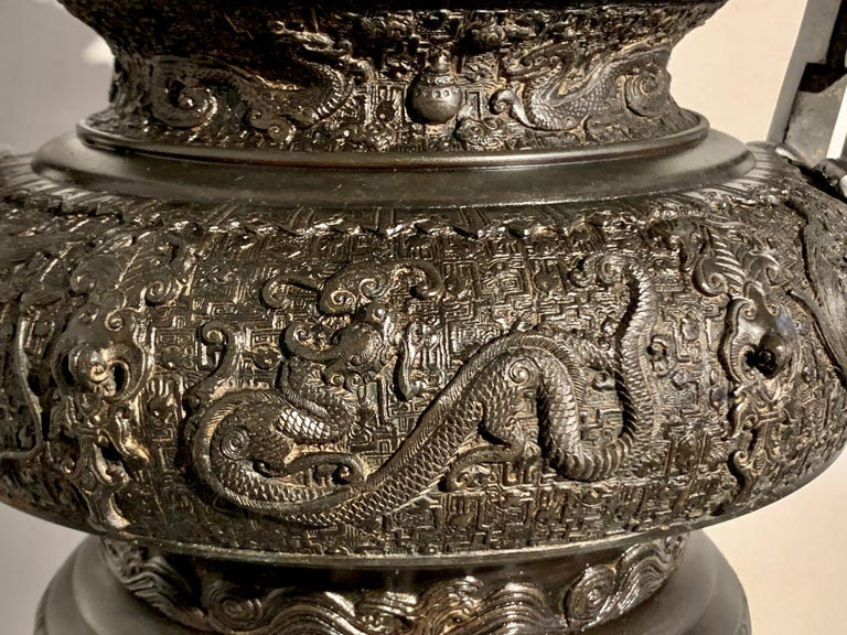 Large Japanese Cast Bronze Censer with Kirin, Edo Period, Early 19th Century For Sale 9