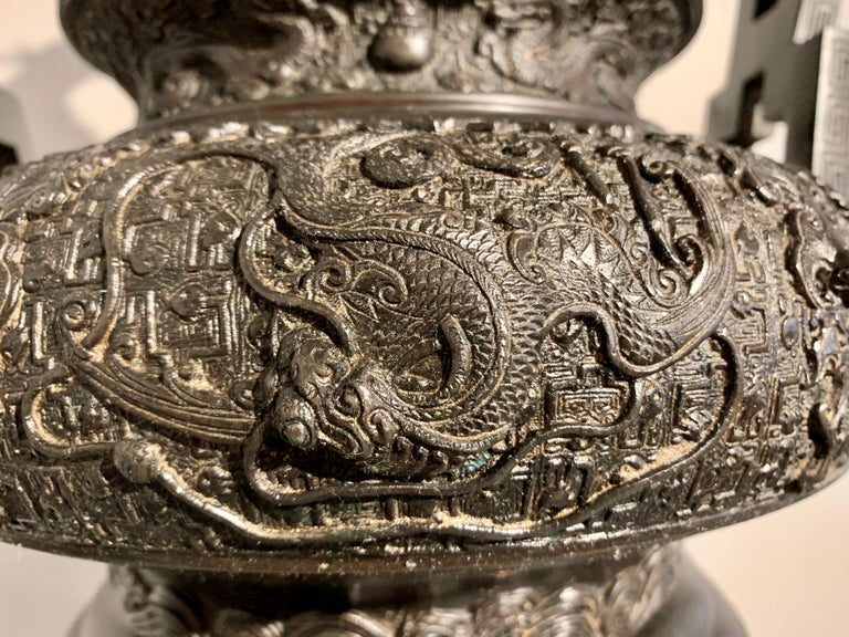 Large Japanese Cast Bronze Censer with Kirin, Edo Period, Early 19th Century For Sale 10