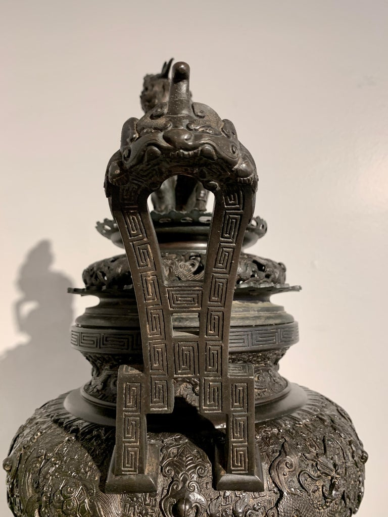 Large Japanese Cast Bronze Censer with Kirin, Edo Period, Early 19th Century For Sale 13