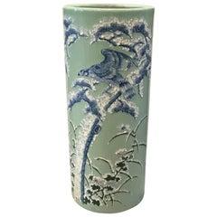 Large Japanese Celadon and Cobalt Porcelain Floor Vase Umbrella Stand