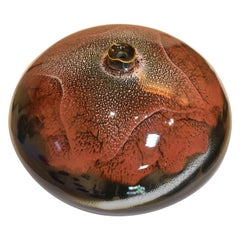 Large Japanese Contemporary Black Hand-Glazed Porcelain Vase by Master Artist