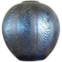 Large Japanese Contemporary Blue Gilded Ceramic Vase by Master Artist