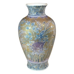 Large Green Blue Gold Porcelain Vase by Japanese Contemporary Master Artist