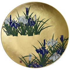 Large Japanese Contemporary Blue Green Gilded Ceramic Charger by Master Artist