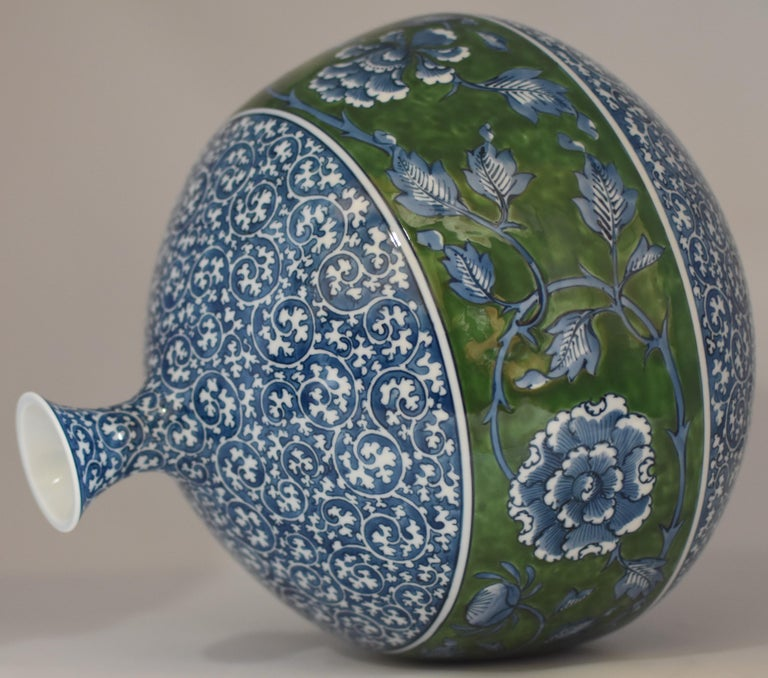 Hand-Painted Large Japanese Contemporary Blue Green Porcelain Vase by Master Artist For Sale