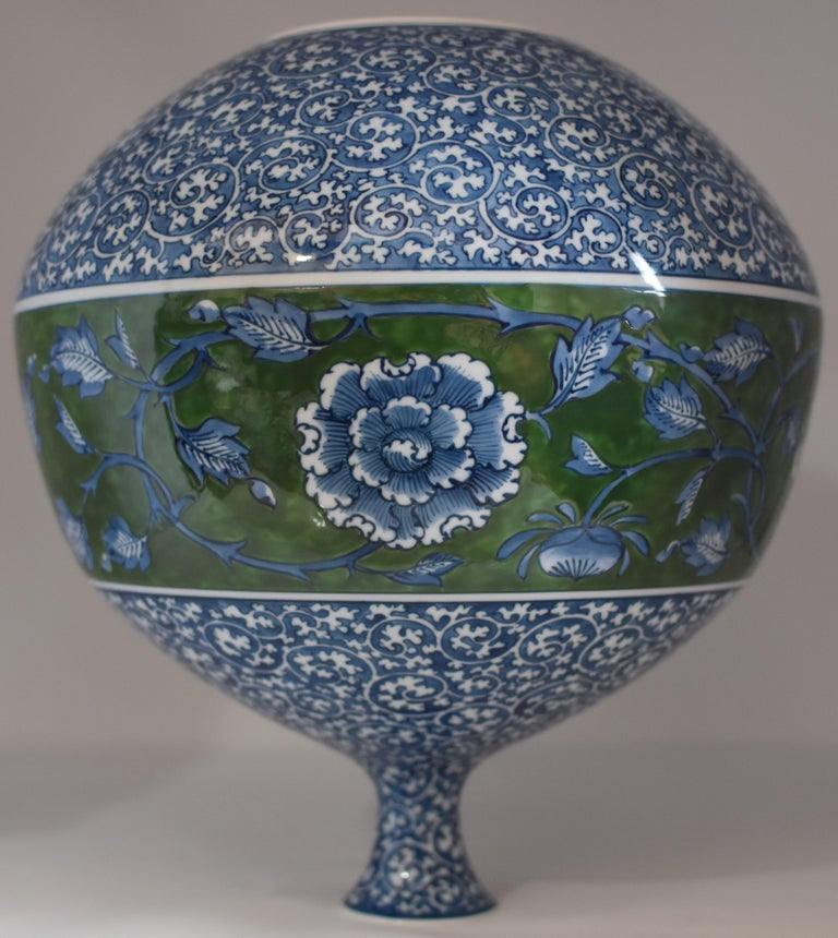 Large Japanese Contemporary Blue Green Porcelain Vase by Master Artist In New Condition For Sale In Vancouver, CA