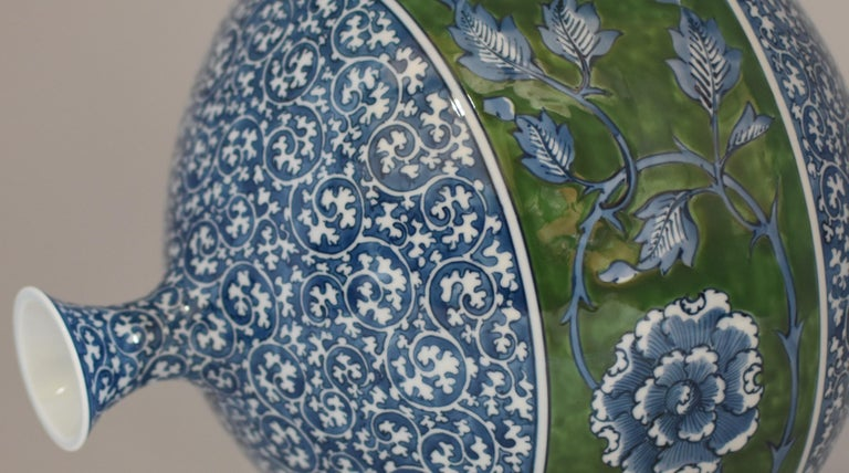 Large Japanese Contemporary Blue Green Porcelain Vase by Master Artist For Sale 2