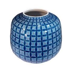 Large Japanese Contemporary Blue Green Porcelain Vase by Master Artist